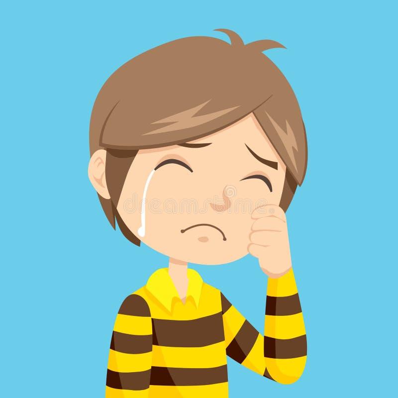 男孩哭泣 皇族释放例证