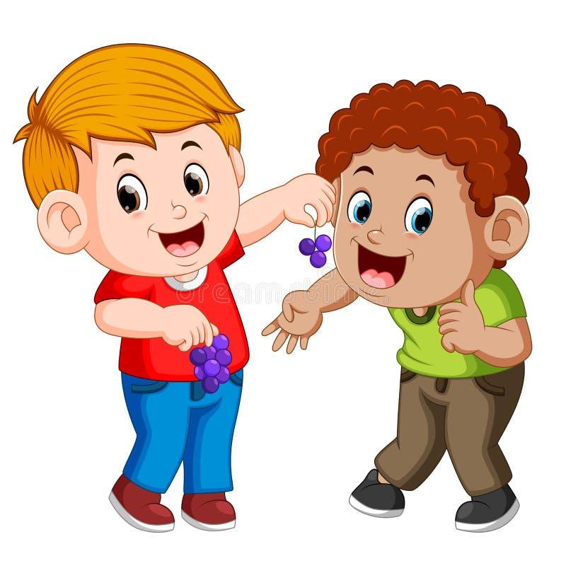 男孩喂养他的最好的朋友用葡萄 向量例证