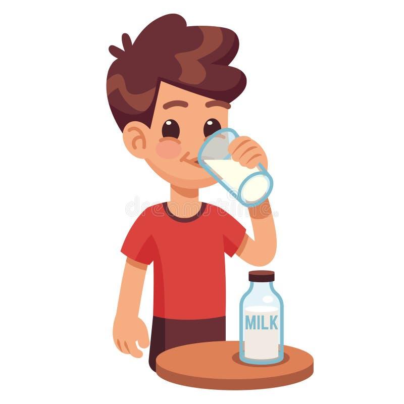男孩喝牛奶 在玻璃的孩子举行的和饮用奶 健康儿童传染媒介概念的奶制品 皇族释放例证