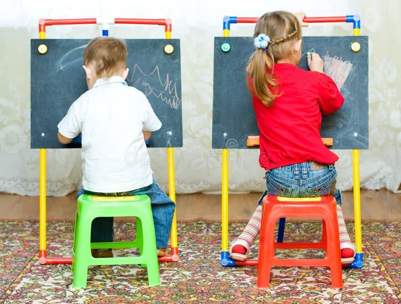 男孩图画女孩 免版税库存照片