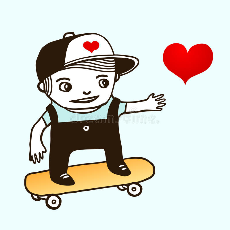 男孩图画溜冰者 向量例证