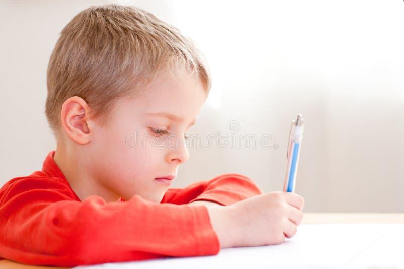 男孩图画照片幼稚园 免版税库存图片