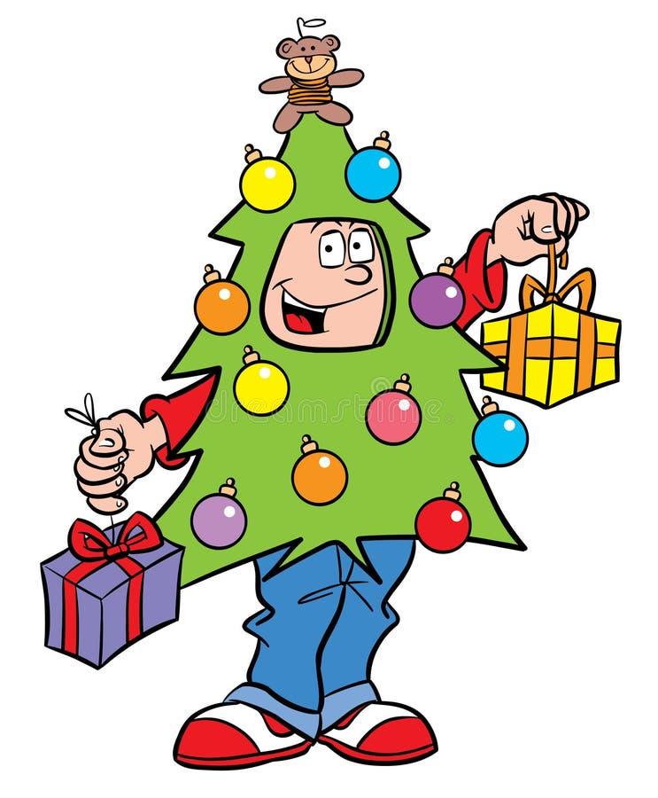 男孩圣诞树 皇族释放例证
