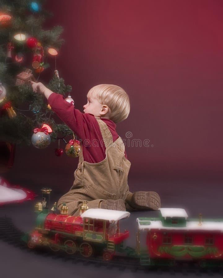 男孩圣诞树 免版税库存照片