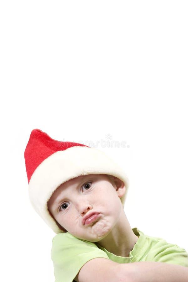 男孩圣诞老人 库存照片