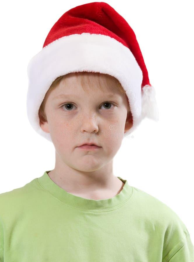 男孩圣诞老人 免版税库存照片