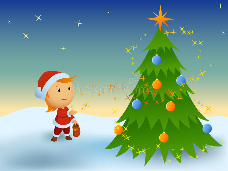 男孩圣诞节一点魔术 向量例证