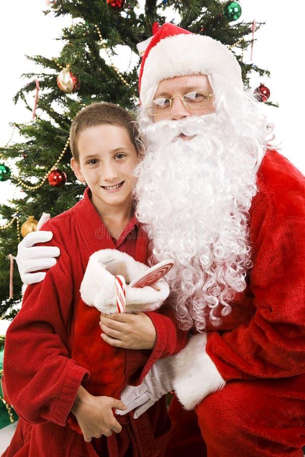 男孩圣诞节小的圣诞老人 免版税库存照片