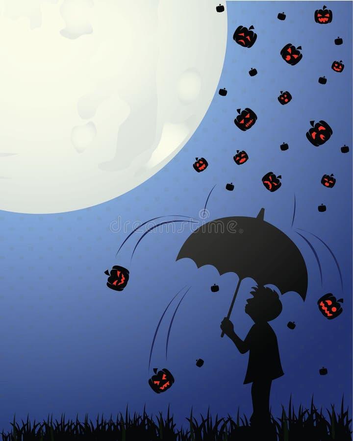 男孩在万圣夜夜-传染媒介在倾吐的雨中拿着伞 库存例证
