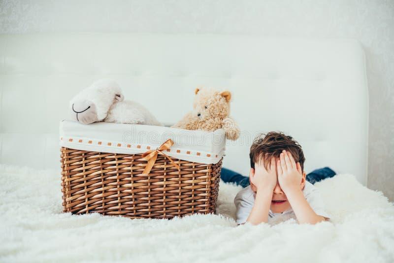 男孩在与软的玩具的一个篮子后掩藏了 免版税库存照片