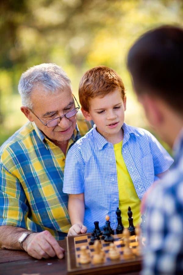 男孩在中下棋比赛获胜 免版税库存图片