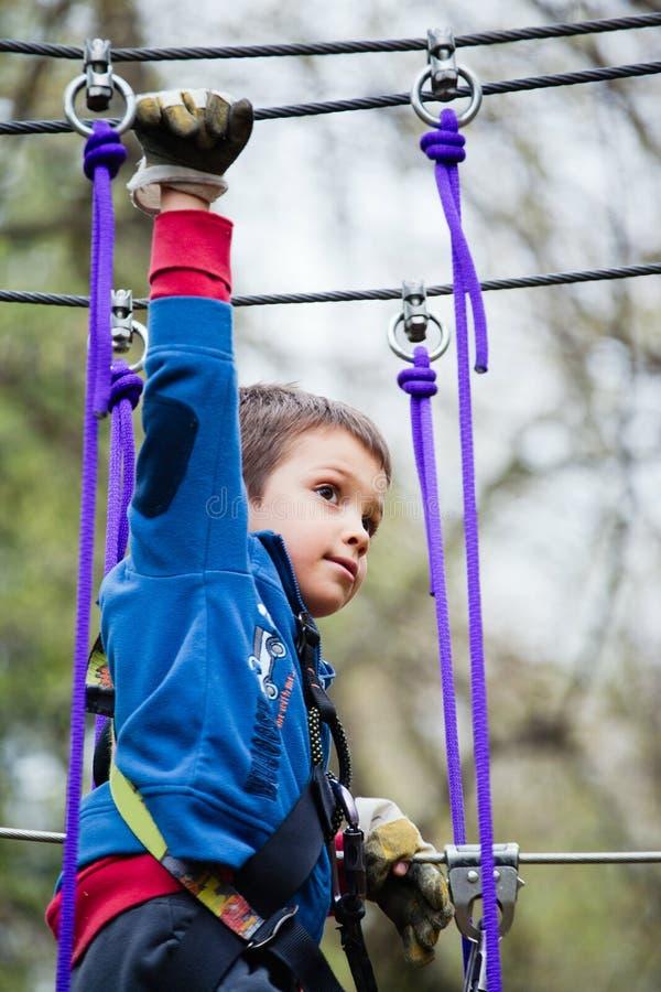 年轻男孩在冒险公园 免版税库存照片