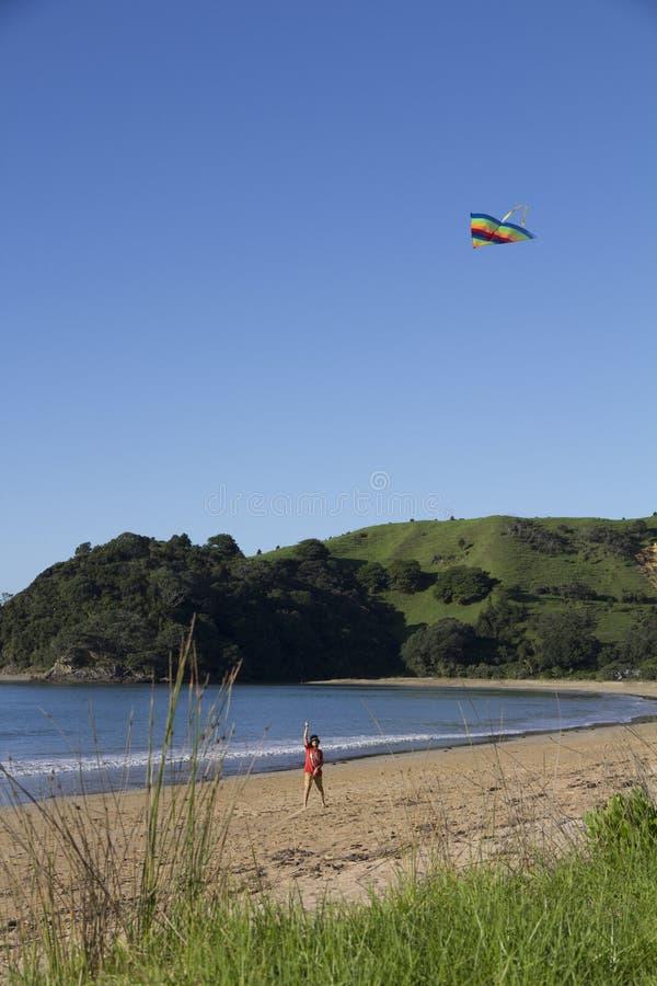 男孩在海滩的飞行风筝 免版税库存照片