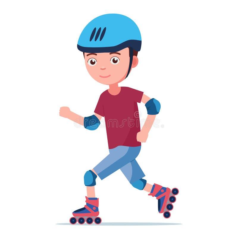 男孩在溜冰鞋乘坐 皇族释放例证