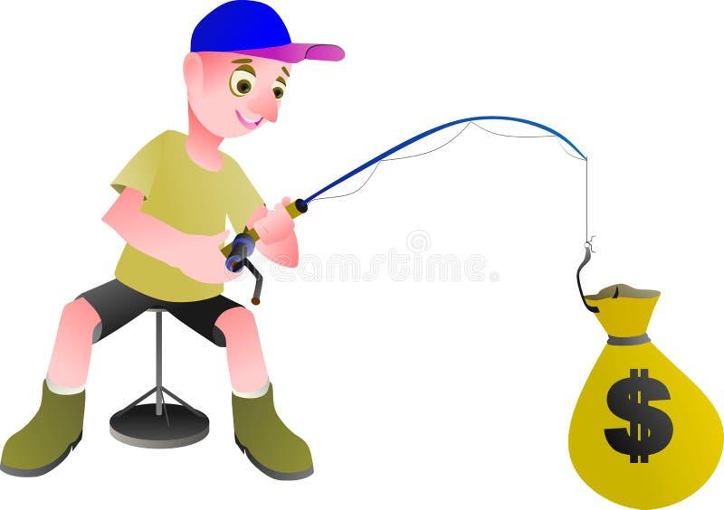 男孩在钓鱼大字书写金钱的美元 免版税库存图片