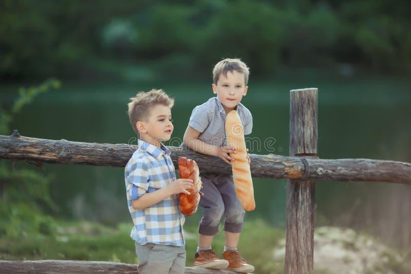 男孩在 willage的木篱芭附近站立 免版税库存图片
