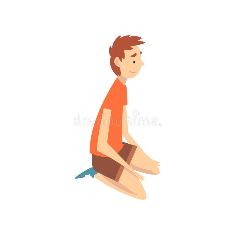 男孩坐他的膝盖,暑假传染媒介例证的愉快的孩子 库存例证