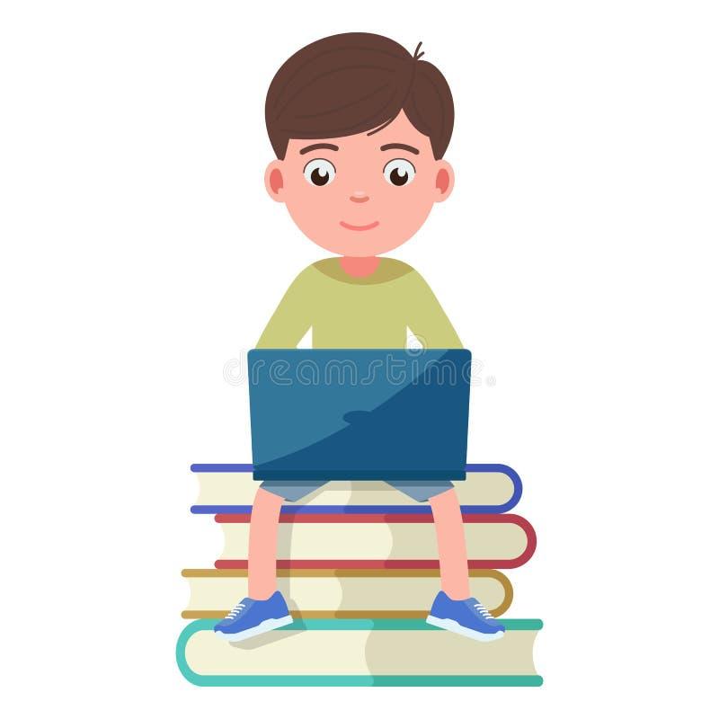 男孩坐和工作参与膝上型计算机书 皇族释放例证