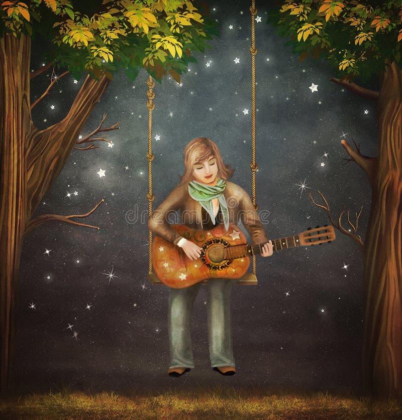 男孩坐在吉他的摇摆在森林里和戏剧 库存例证