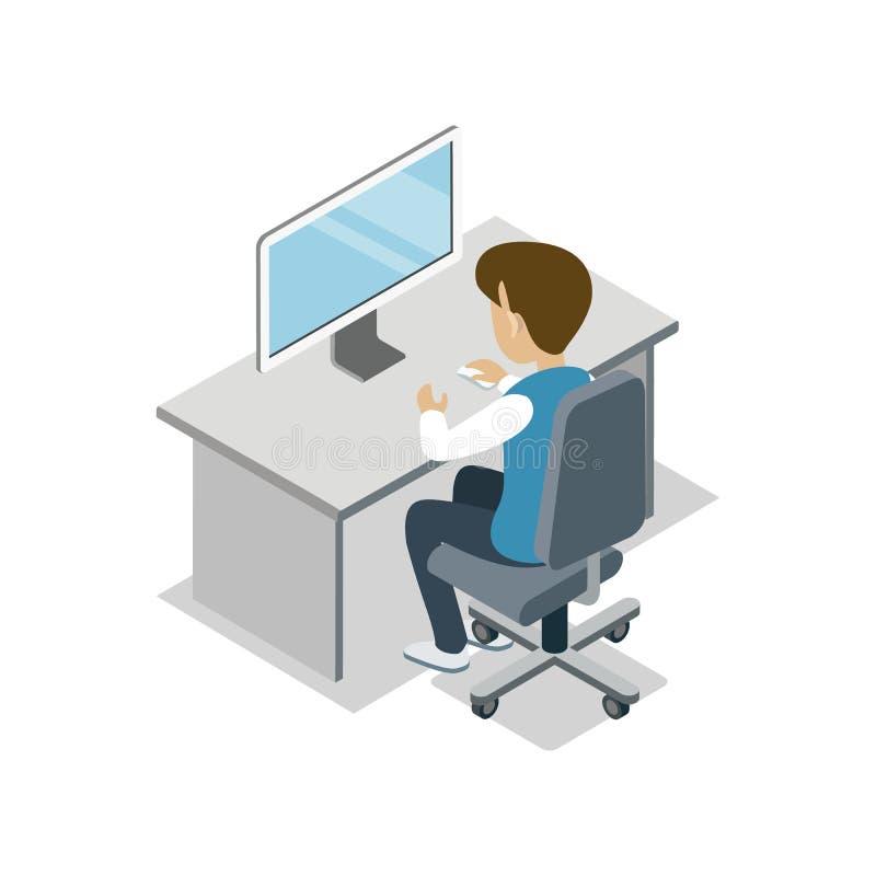 男孩坐在有计算机等量象的书桌 库存例证