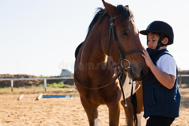 男孩坐马后面 库存图片