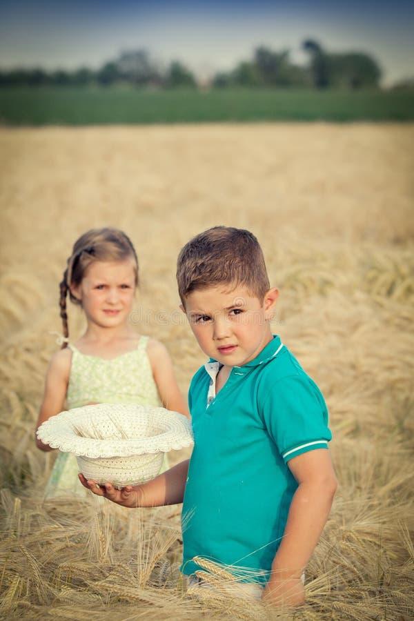 男孩域女孩少许麦子 库存图片