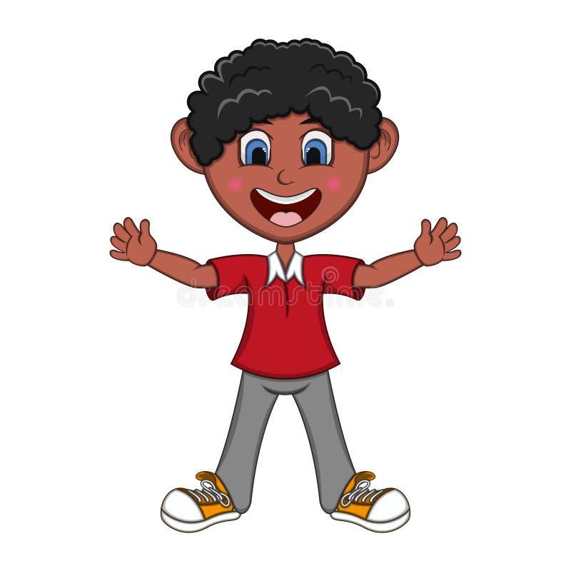 男孩培养了他的手动画片 库存例证