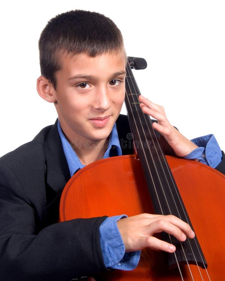 男孩大提琴使用 图库摄影