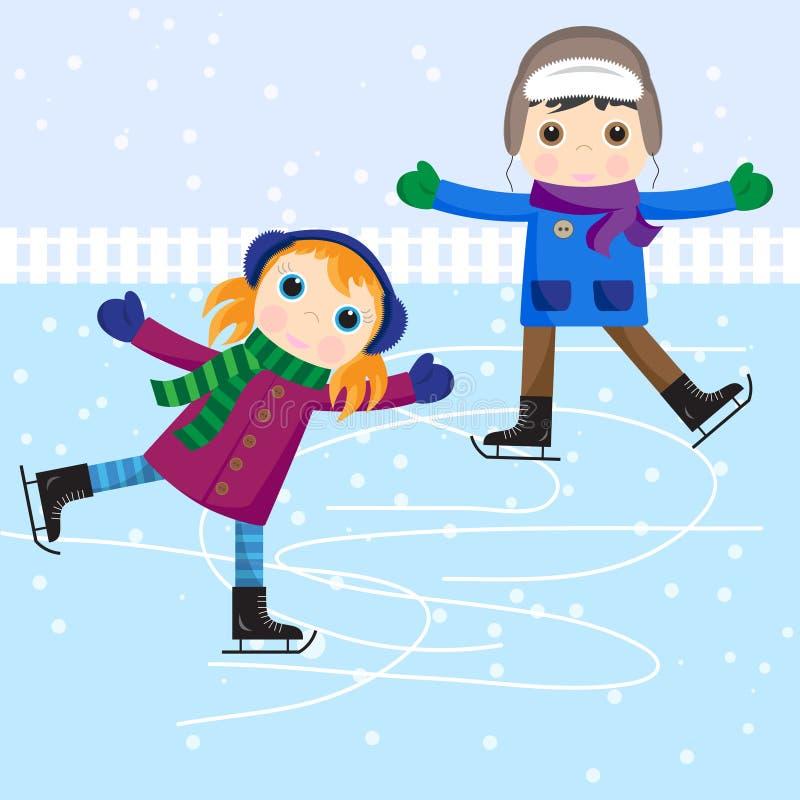 男孩女孩冰滑冰的一点 库存例证