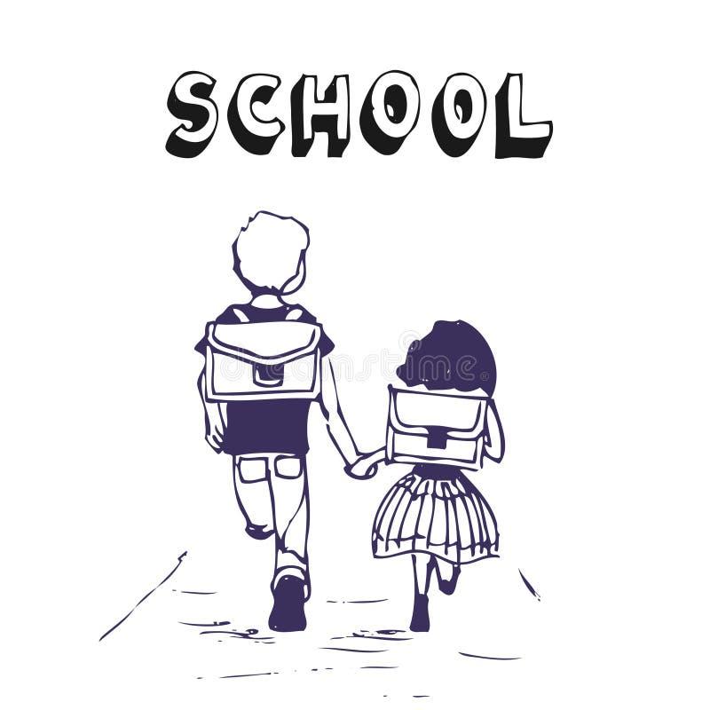 男孩女孩去学校 向量例证