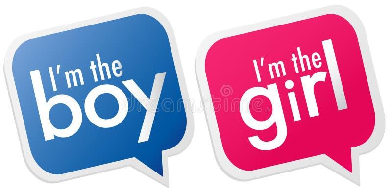 男孩女孩我标签 向量例证