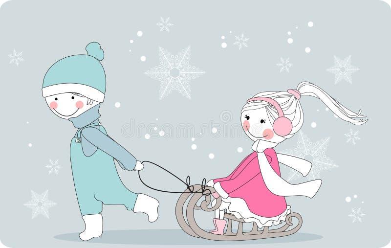 男孩女孩拉雪橇 库存例证