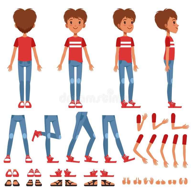 男孩字符创作集合,用不同的姿势,姿态的逗人喜爱的男孩建设者,穿上鞋子传染媒介例证 库存例证