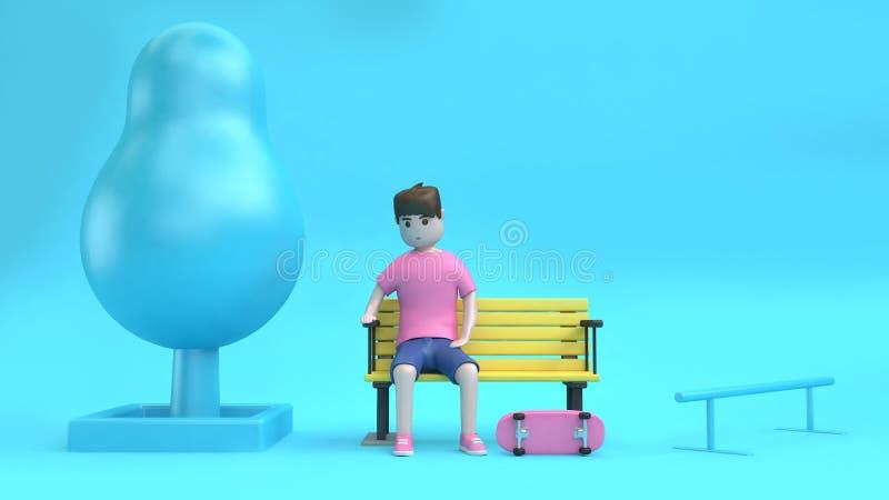 男孩字符坐与蓝色场面3d翻译,街道溜冰板者概念桃红色滑板的椅子  向量例证