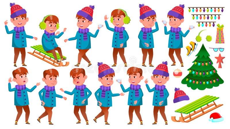 男孩孩子摆在集合传染媒介 男孩节假日位置雪冬天 女演员 正面孩子 对明信片,公告,盖子设计 查出 向量例证