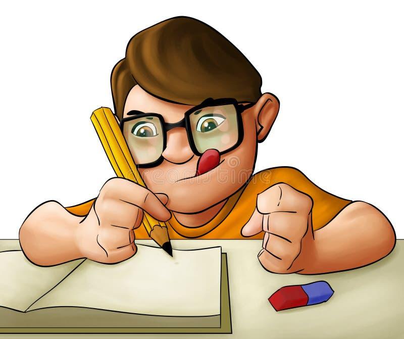 男孩家庭作业年轻人 库存例证