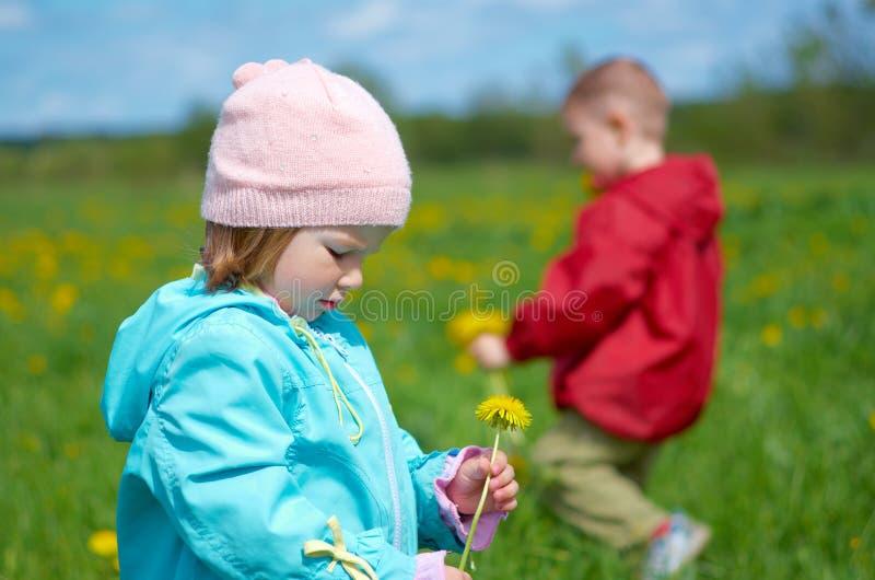 男孩小女孩的草甸 免版税图库摄影