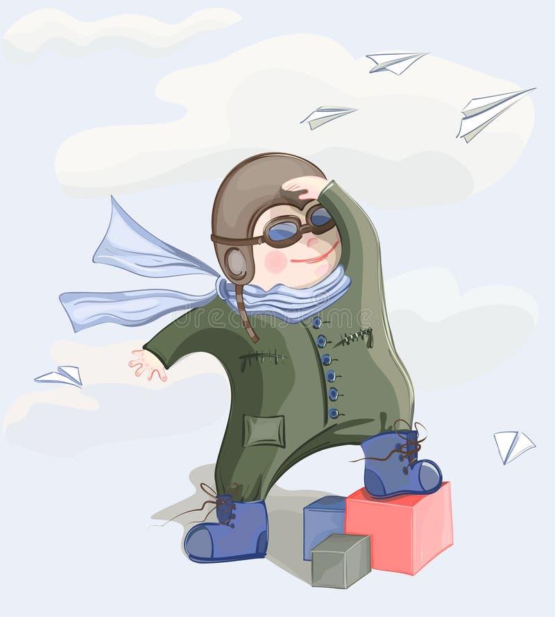 男孩小飞行员 向量例证