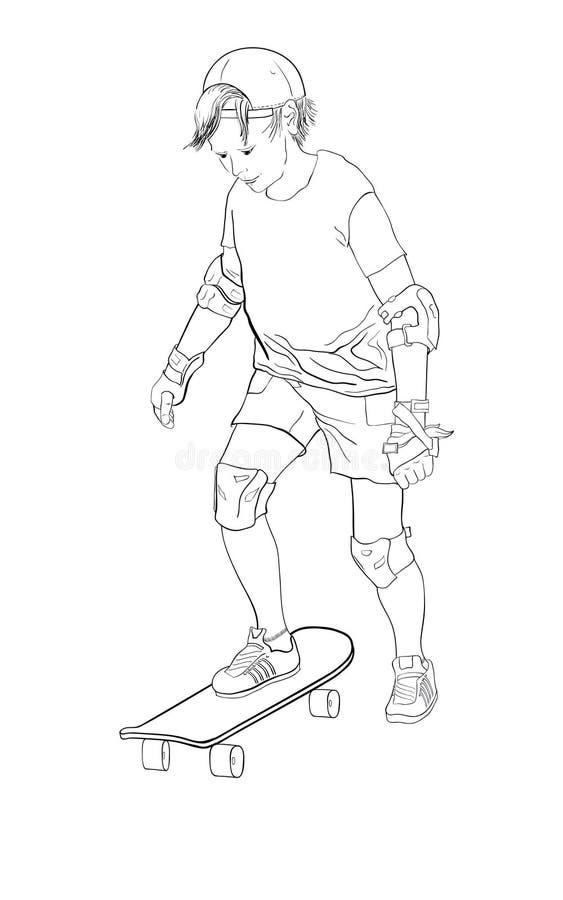 男孩少年踩滑板的初学者 向量例证
