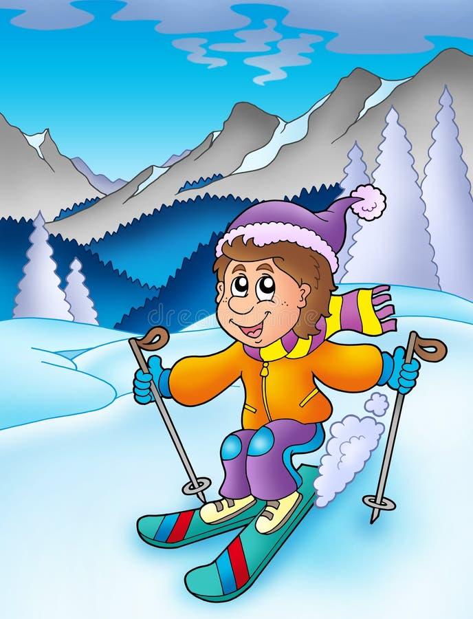 男孩山滑雪 向量例证