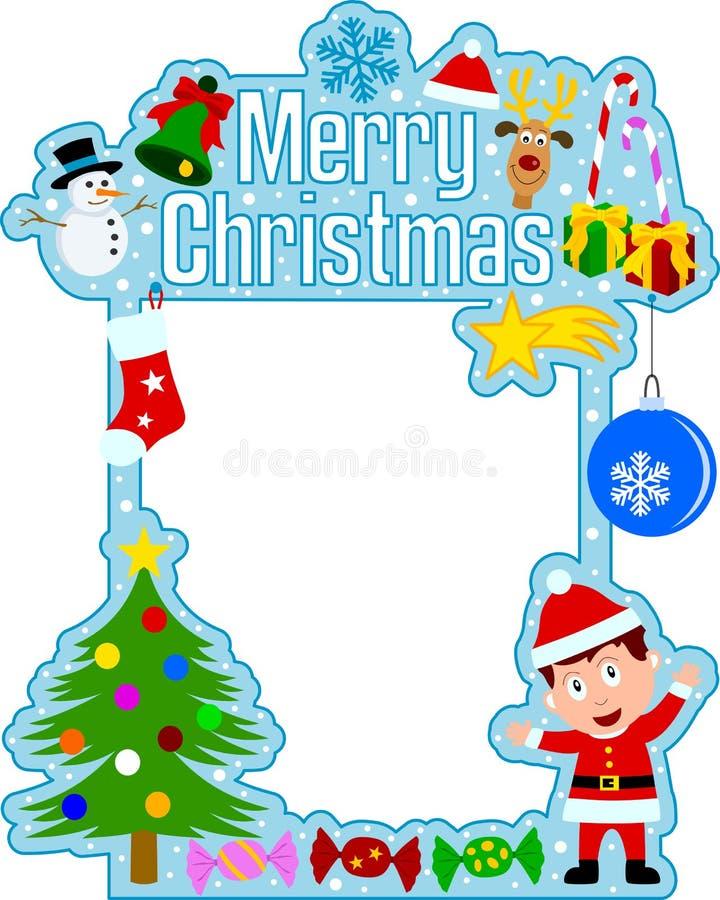 男孩快活圣诞节的框架 皇族释放例证