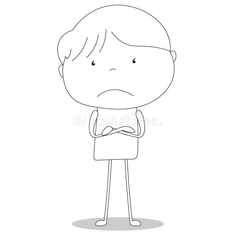 男孩怏怏不乐对于胳膊横渡了,动画片样式例证 向量例证