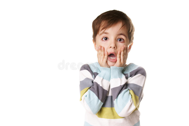 男孩惊奇了 免版税库存图片
