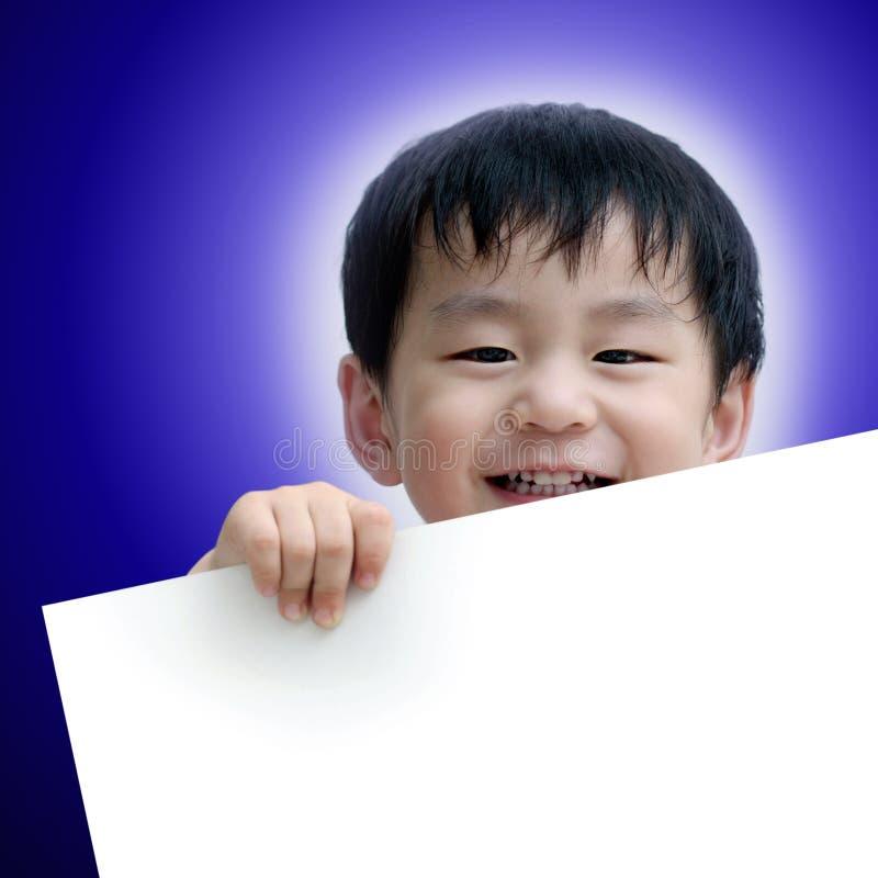 男孩愉快的藏品招贴白色 库存图片