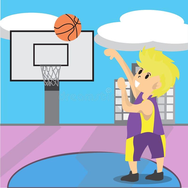 男孩戏剧篮球字符设计动画片艺术篮球场背景例证 库存例证