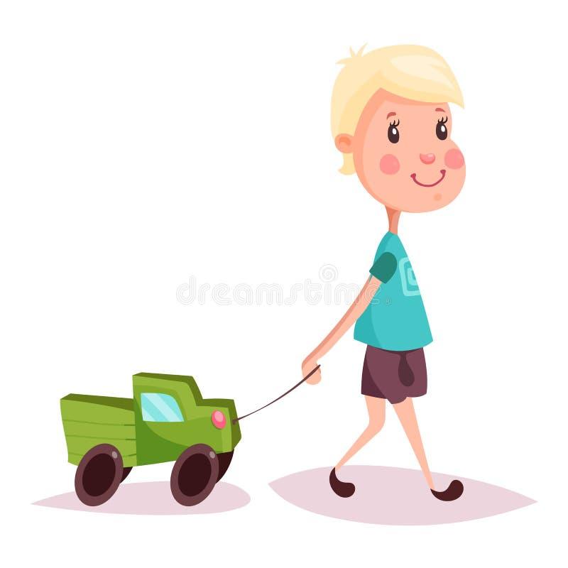 男孩或孩子、孩子或者人有玩具卡车或卡车的 库存例证