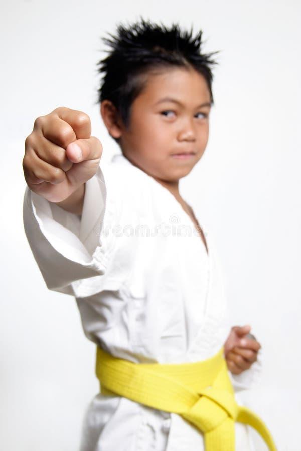 男孩拳头空手道 免版税库存照片