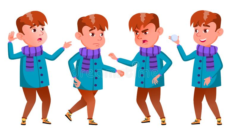 男孩摆在集合传染媒介 情感 男孩节假日位置雪冬天 聪明的正面人 室外衣裳 对横幅,飞行物,小册子 皇族释放例证