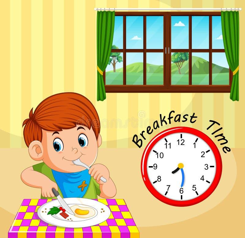 男孩早餐时间 库存例证