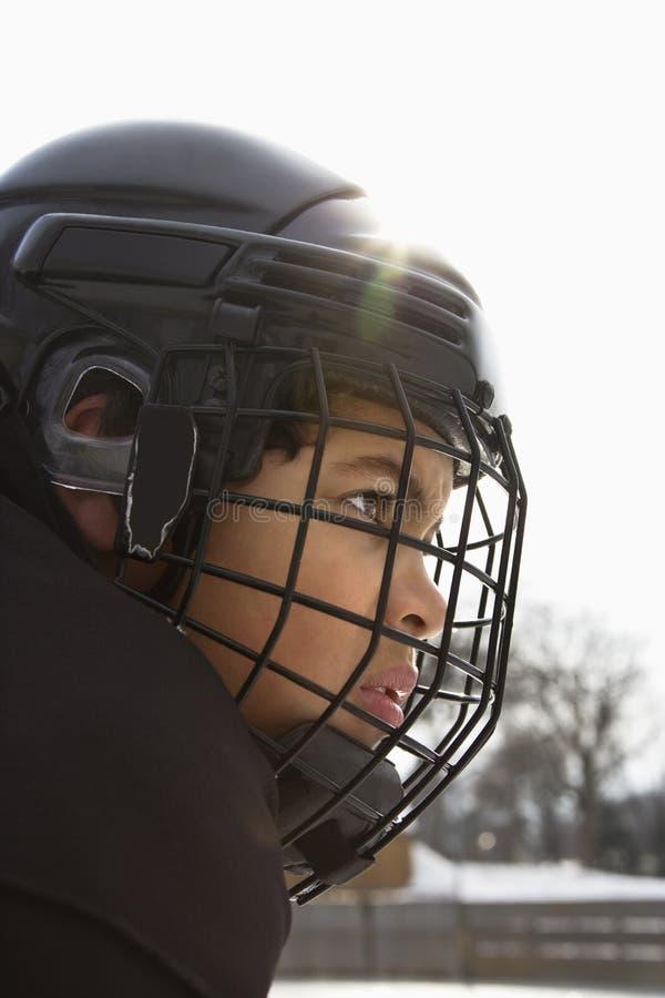 男孩曲棍球冰球员 免版税图库摄影